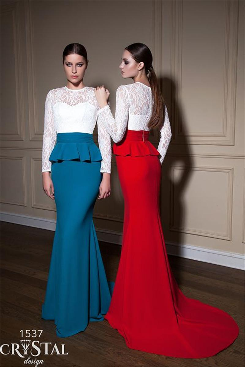 4e9c25e335 Stunning 2015 Evening Dresses Long Sleeve Sheer Peplum Lace Applique ...