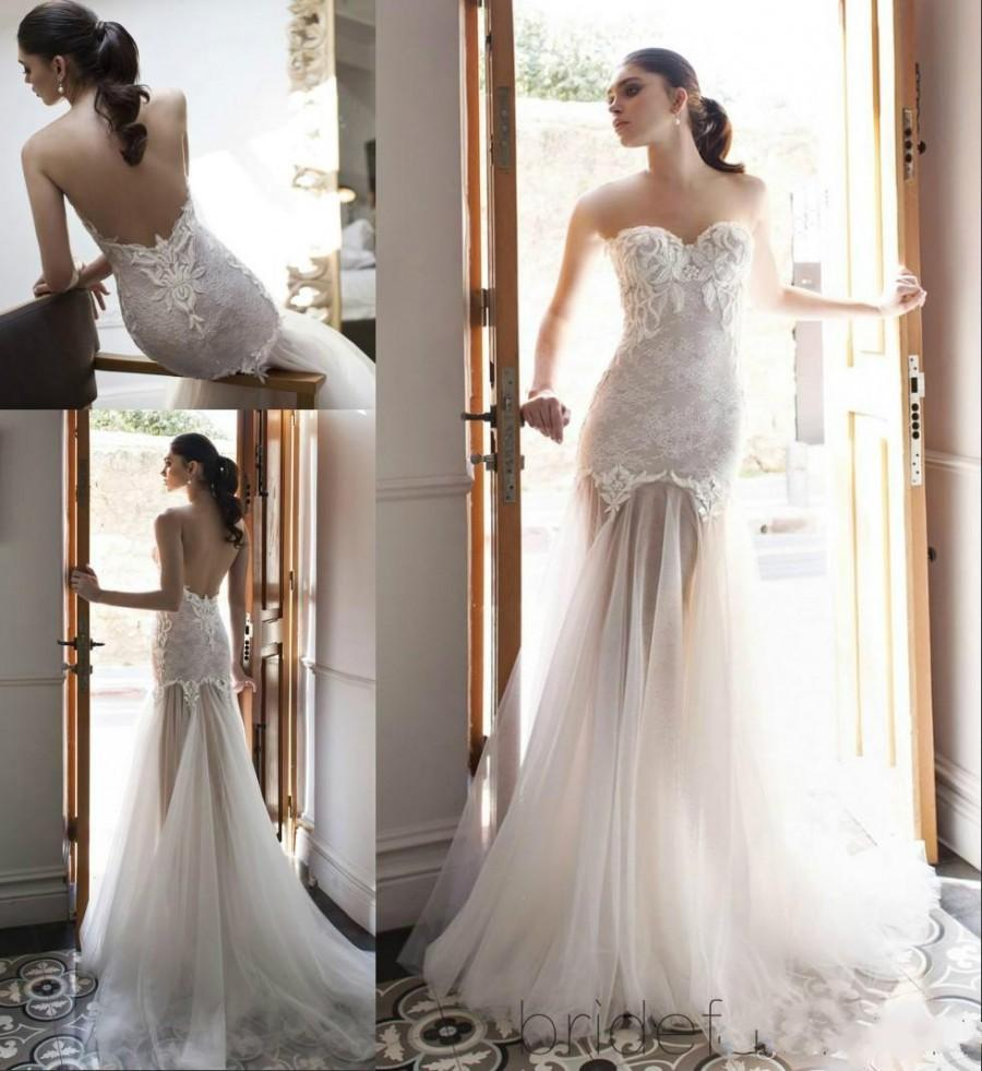 Vintage 2015 lace wedding dresses mermaid sweetheart tulle for Vintage backless wedding dresses