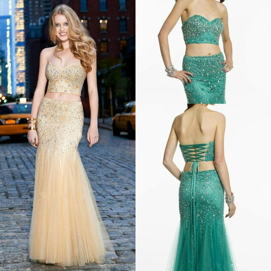 Wedding - Fashion Two Pieces Crystal Evening Dresses Beads Shiny Mermaid Long Gowns Formal Dresses Party Sexy Prom Dresses 2015 Special Occasion Dress Online with $143.3/Piece on Hjklp88's Store
