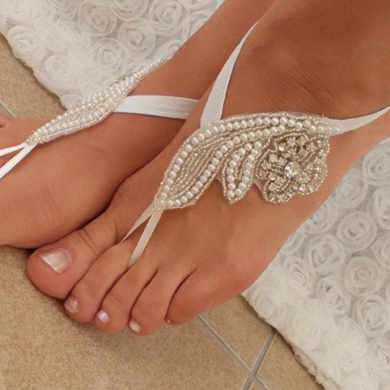 Hochzeit - Rhinestone sandals , anklet, Beach wedding barefoot sandals, Barefoot Sandals, Sexy, Yoga, Anklet , Bellydance, Steampunk, Beach Pool