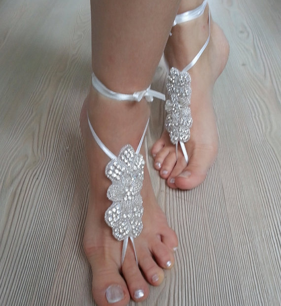 Свадьба - Rhinestone anklet, FREE SHIP Beach wedding barefoot sandals, Steampunk, Beach Pool, Sexy, Yoga, Anklet , Bellydance