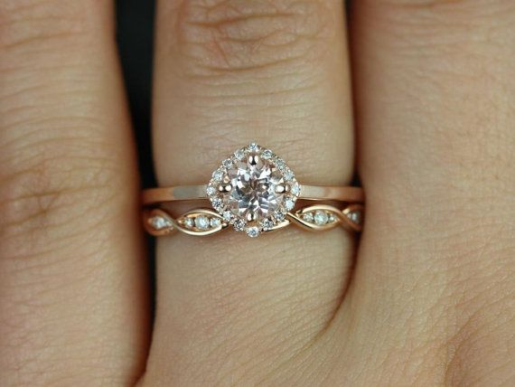 Mariage - Ultra Petite Kyla 5mm & Ember 14kt Rose Gold Morganite And Diamond Cushion Halo Wedding Set (Other Metals And Stone Options Available)
