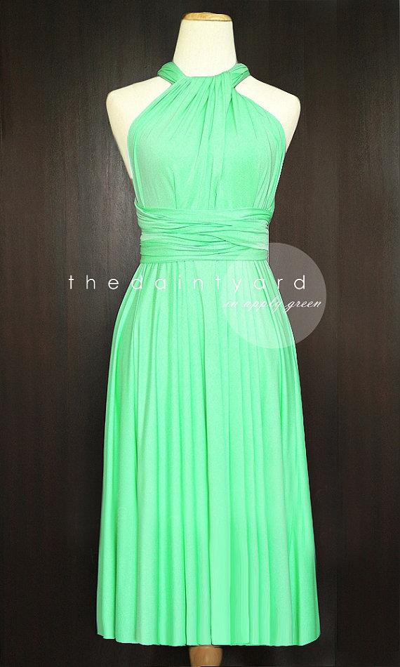 Short straight hem apple green bridesmaid convertible for Apple green dress for wedding
