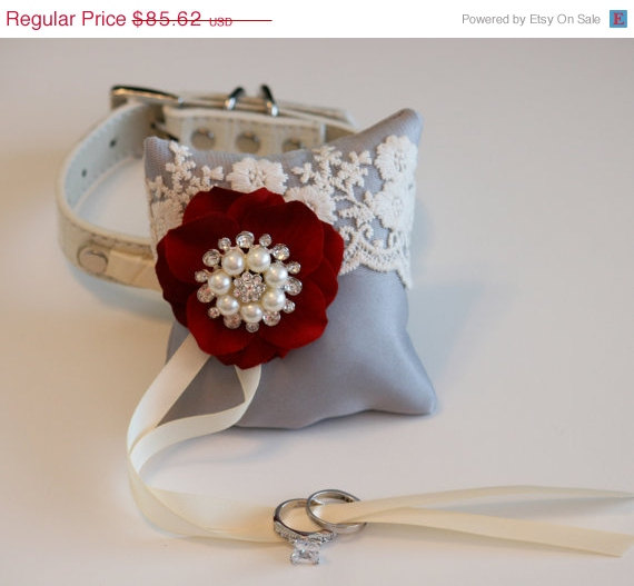 Gray and Apple red ring pillow Dog Ring Bearer Pillow Gray Ring Pillow attach to dog Collar Pet wedding accessory Vintage Wedding ideas & Gray And Apple Red Ring Pillow Dog Ring Bearer Pillow Gray Ring ... pillowsntoast.com