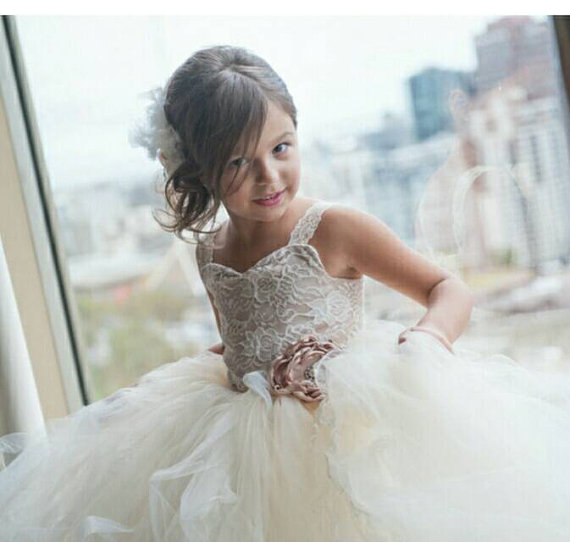 82a5cefa6 flower girl dress-vintage flower girl tutu dress-custom champagne and ivory  lace flower girl tutu dress