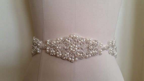 Hochzeit - Wedding Sash Belt, Bridal Sash Belt - Crystal Pearl Sash Belt B20489