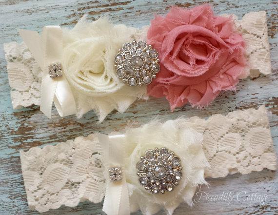 Hochzeit - Wedding Garter Set, Rose Pink Wedding Garter, Bridal Garter, CUSTOMIZE IT, Lace Garter, Vintage Wedding