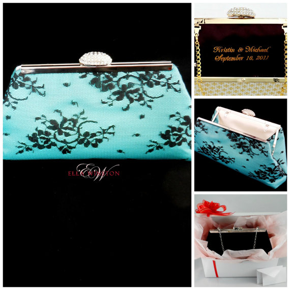 Свадьба - Bridesmaid Gift Clutch, Aqua Blue, Black And Ivory Bridal Clutch, Wedding Clutch, Mother Of The Bride Gift, Bridal Shower Gift Gift Ideas