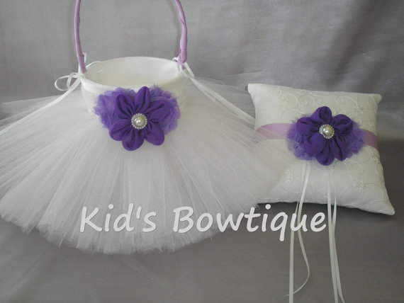 Hochzeit - CUSTOM LISTING: 2 Wedding Flower Girl Tutu Baskets and 1 Matching Ring Bearer Pillow-  Purple/Lavender Flowers