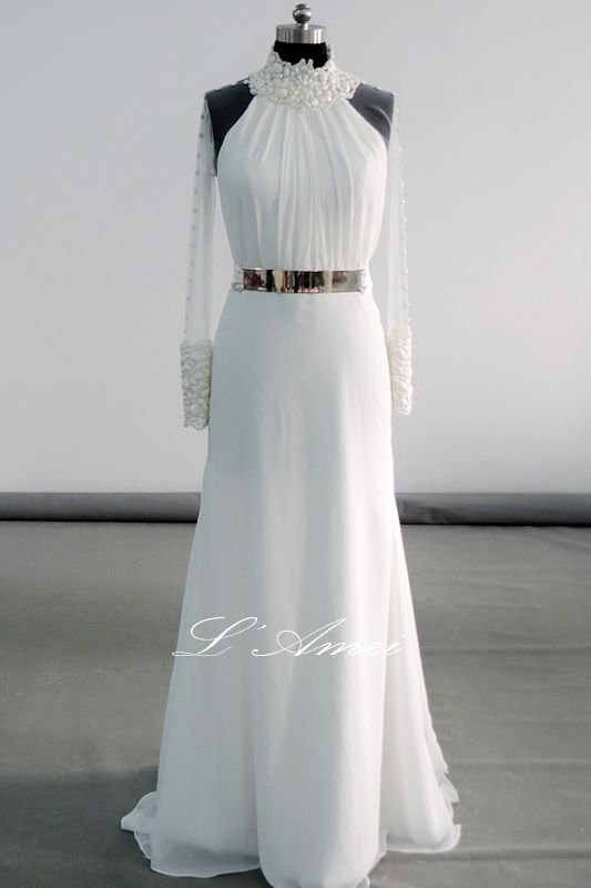 Wedding - Romantically Inspired Long Sleeve High Neck Ivory Wedding Bridal Dress with Just the right amount of Sheer , FREE SHIPPING!