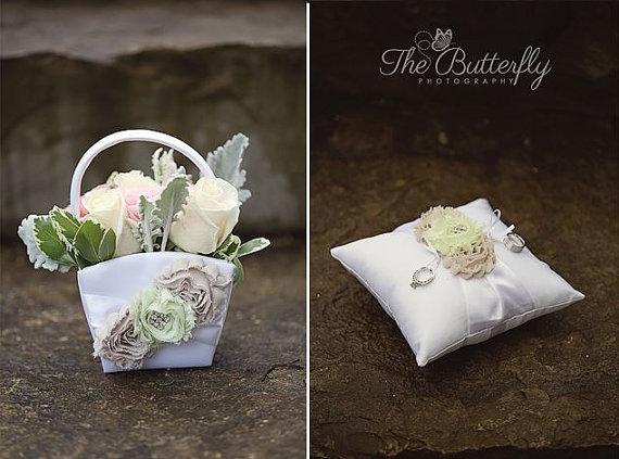 Hochzeit - Romantic Flower Girl Basket ,  Ring Bearer Pillow   Champagne and Roses, Flower Girl Basket Vintage CUSTOM COLORS  too Wedding Pillow