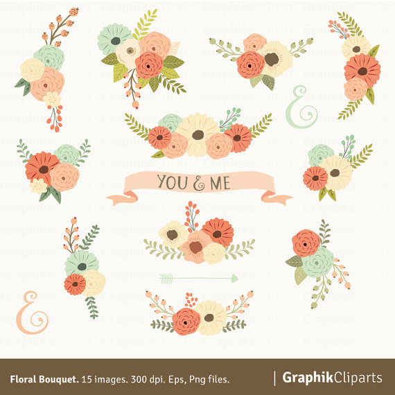 Clipart Flowers Wedding Invitation Clipart Flowers: Floral Bouquet Clipart. Floral Clipart. Flowers Clipart