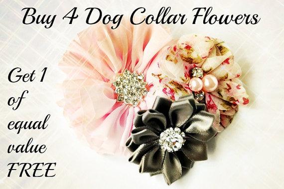 Wedding - Dog collar flowers. Dog collar, dog collar bling, collar Flowers, Wedding Dog Flowers, Bows for Dogs, Dog Bows, Pet flower, pink dog flower
