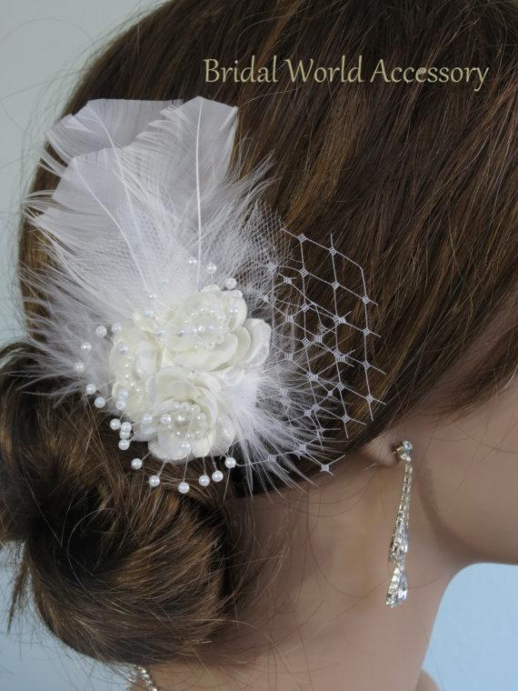 Wedding - Bridal Flower Hair  Clip Wedding Hair Clip  Wedding Accessory Feathers Pearls Vail