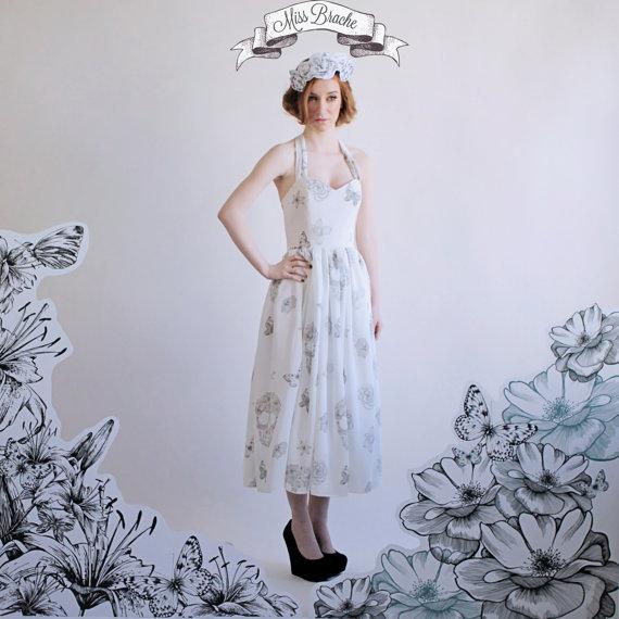 Skull print wedding dress tea length with sweetheart for Sweetheart neckline tea length wedding dress