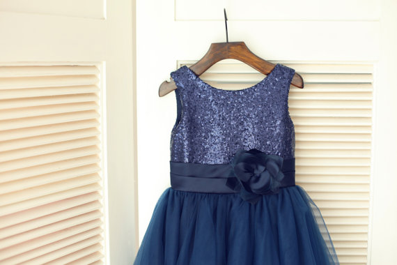 3a40cf6ac Navy Blue Sequin Tulle Flower Girl Dress Children Toddler Party Dress for  Wedding Junior Bridesmaid Dress