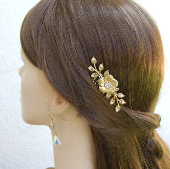 Свадьба - Gold Bridal Hair Comb,  Hair Accessories, floral hair comb, Crystal Hair Jewelry ,Gold Hair Vine ,Gold Hair Comb Wedding ,Hair Piece