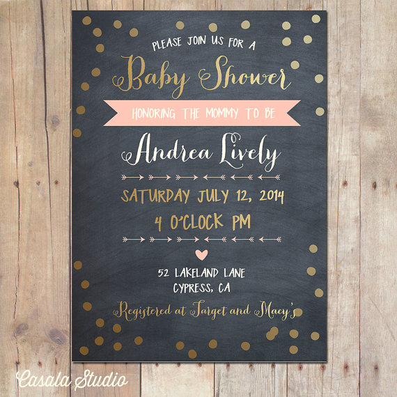 Wedding - Tribal Gold and Peach Mint Arrows Chalkboard Baby Shower Invitation Bridal Shower Printable or Professionally Printed Cards 5x7