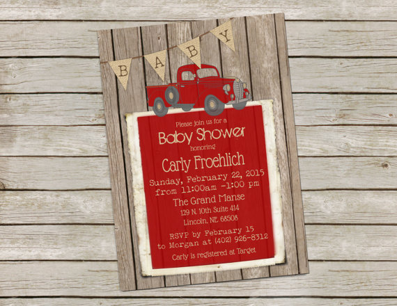 Wedding - Rustic Baby Boy Shower Invitation, Invite, Digital file, Vintage Truck, Shabby Wood, Red and Burlap, Printable, Customize, 5x7