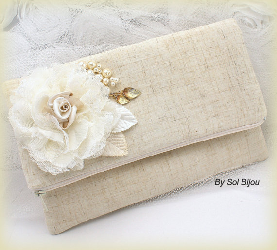 Mariage - Bridal Linen Clutch, Wedding, Handbag, Bag, Shabby Chic, Rustic in Ivory, Cream and Gold with Lace and Pearls- Vintage Inspired