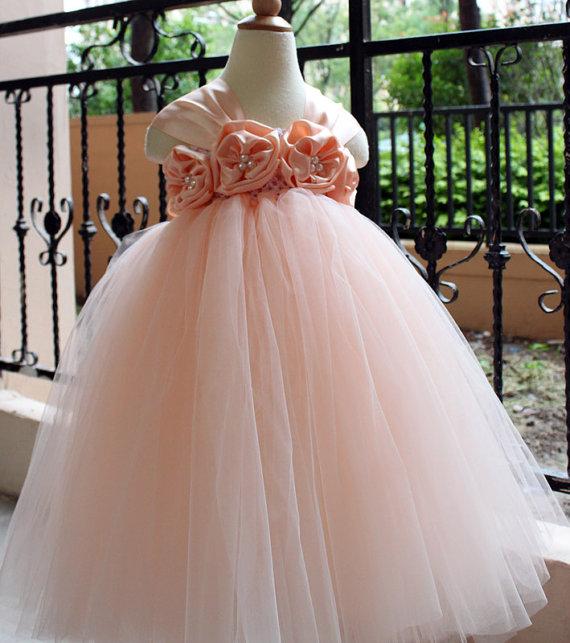 Flower Girl Dress Pear Peach Tutu Dress Baby Dress Toddler Birthday