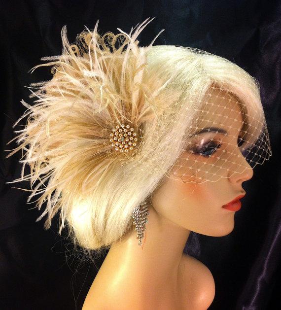 Wedding - Wedding Bridal Fascinator, Bridal Fascinator, Feather Fascinator , Wedding Veil, Bridal Headpiece - Champagne, Gold-tone Brooch with Pearls