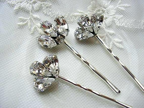 Mariage - Bridal hair pins, bridesmaid, Rhinestone hair pins, Head Piece, Set of 3, vintage style,  wedding hair ACCESSORIES,