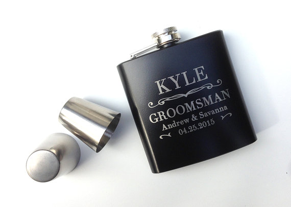 Wedding - Groomsmen Gift, Engraved Hip Flask, Wedding gift, Best Mans Gift, Bridal Party, Wedding Party Gift, Personalized Flask