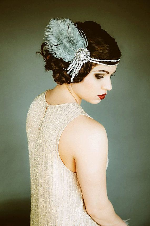 Свадьба - Flapper Headpiece, Vintage Inspired, Bridal Headband, The Great Gatsby, 1920s, 1930s, Party, Roaring 20's, Silver, Gray, Pearl, Feather 103