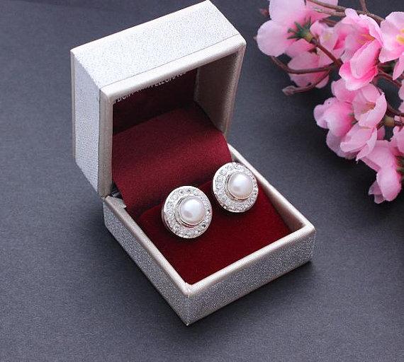 زفاف - Bridal earrings - Pearl earrings - Cz earrings - Stud earrings - Bridal jewelry - Wedding jewelry - Gift for her