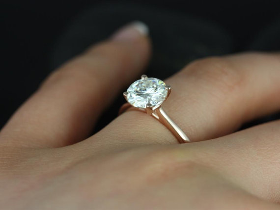 Wedding - Skinny Flora 8mm 14kt Rose Gold Round FB Moissanite Tulip Cathedral Solitaire Engagement Ring (Other metals and stone options available)