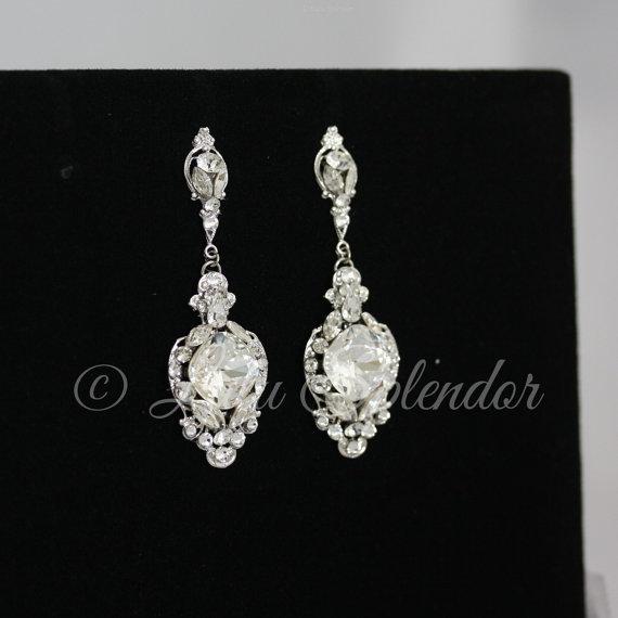 Hochzeit - Crystal Wedding Earrings Vintage Bridal Earrings Swarovski Crystal Chandelier Earrings Wedding Jewelry  ESTELLA CRYSTAL EARRINGS