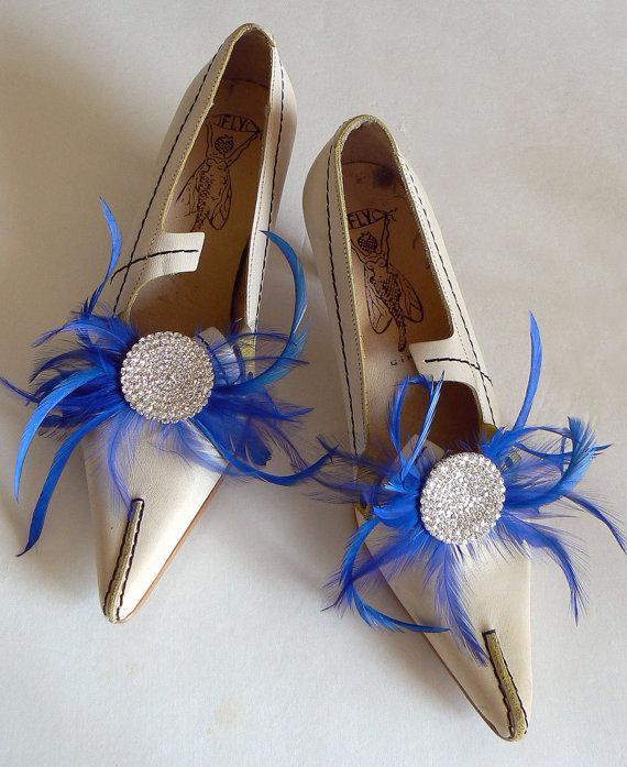 Mariage - cobalt blue shoe clips - blue wedding shoeclips - large rhinestone shoe clips