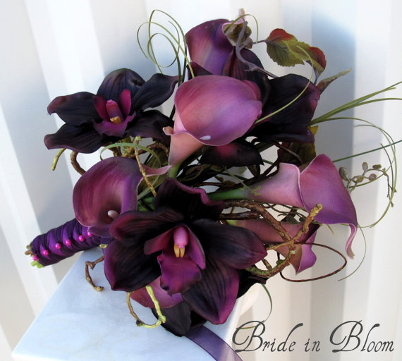 Mariage - Wedding Bouquet real touch calla lily Bridal bouquet orchid plum lilac purple bridal flowers