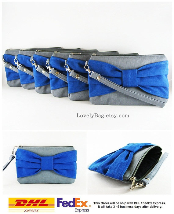 Wedding - SUPER SALE - Set of 6 Gray with Royal Blue Bow Clutches - Bridal Clutch, Bridesmaid Clutch, Bridesmaid Wristlet,Wedding Gift - Made To Order