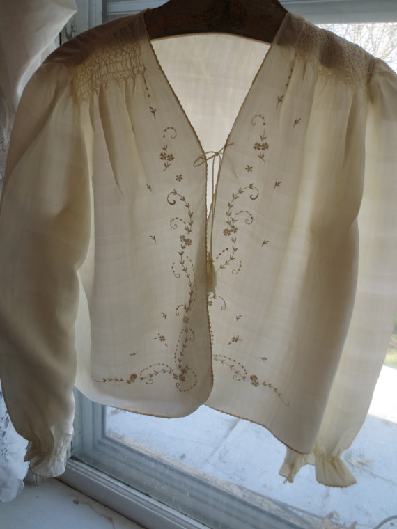 Mariage - Dainty Hand SMOCKED & EMBROIDERED White SILK Edwardian Bed Jacket