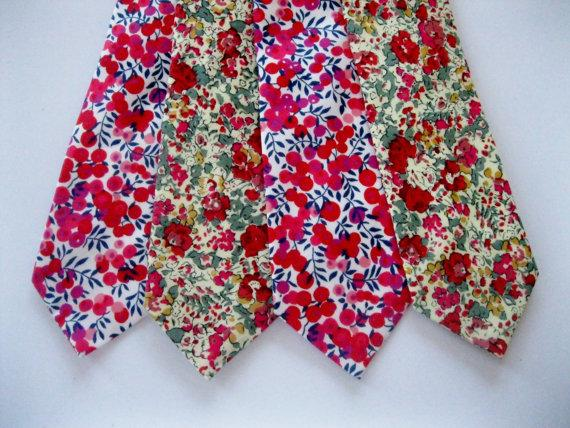 Wedding Gifts London: Red Floral Tie, Liberty Of London Print Tie, Red Ties For