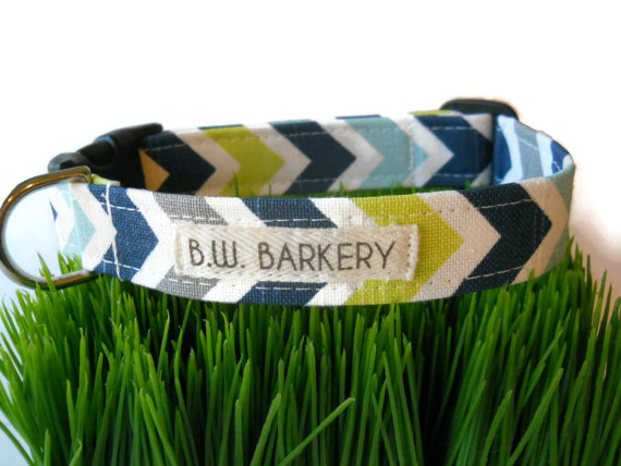 """Mariage - Chevron print dog collar from the """"Coastal Collection""""... Any size..."""