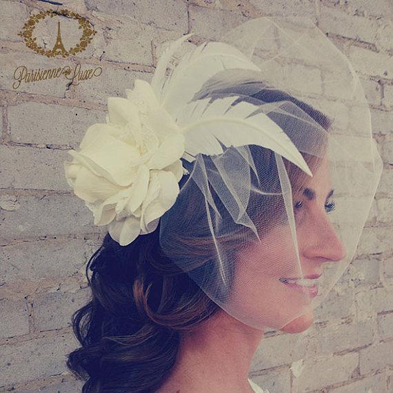"""زفاف - Ivory Bridal Flower Hair Accessories with Birdcage Veil, Flower Hair clip, Fascinator  with Feathers,Tulle & lace """"VALENTINA with VEIL"""""""