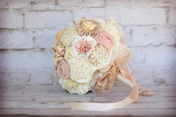 زفاف - wedding  Bouquet Fabric rustic Bridal Bouquet DEPOSIT shabby chic bouquet