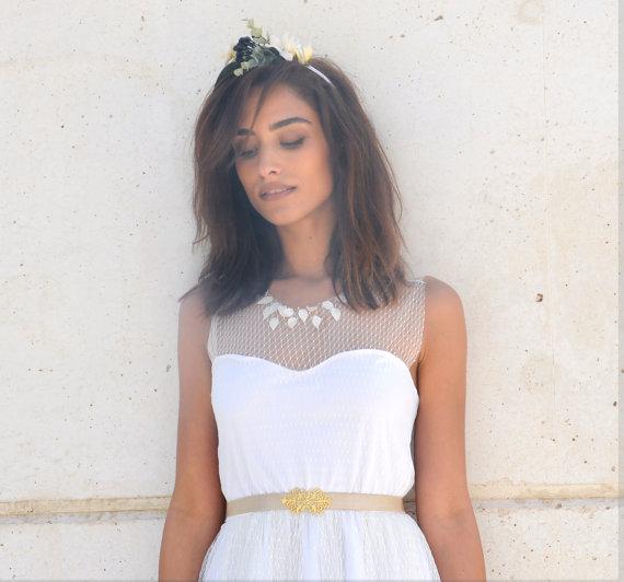 Mariage - Heart shape knee length wedding dress, beach wedding, garden wedding boho wedding dress with deep V neck cleavage and jewelry sash