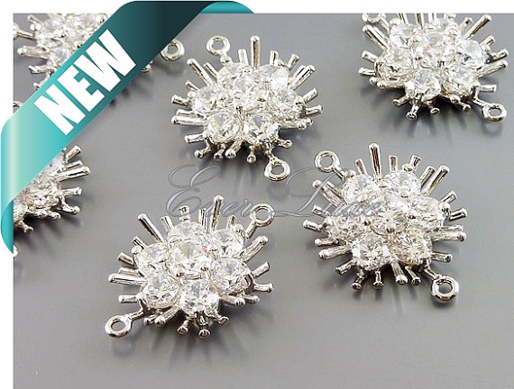 2 Clear Cubic Zirconia CZ Flower Bouquet Connectors Cz Crystal