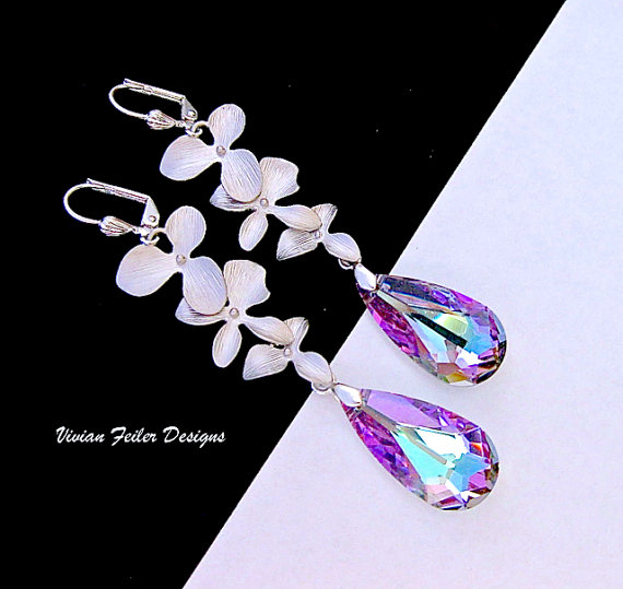 Hochzeit - Purple Blue Wedding Jewelry Bridal Earrings Violet Aqua Orchid Jewelry Bridesmaid Gift Wedding Jewellery Prom Mother of the Bride