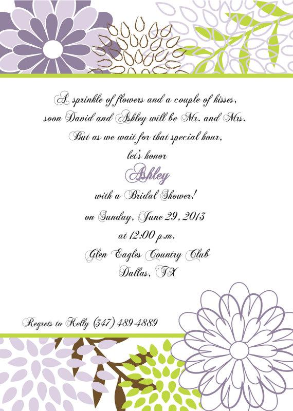 Mariage - Bridal Shower Invitation Lavender and Green Floral -  Bachelorette Party, Rehearsal Dinner, Birthday Party, Printed