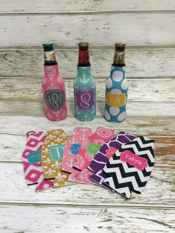 Wedding - Personalized BOTTLE Koozie... Great Bridesmaids and Groomsmen Gifts