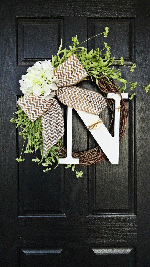 Hochzeit - Year Round Grapevine Red Hydrangea And Chevron Burlap Wreath, With Curly White Monogram Initial, Fall Burlap Wreath, Wreath With Monogram