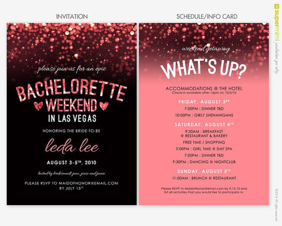 Sparkly Pink Black Vegas Bachelorette Invitation And Schedule Info Card / Customized Printable ...