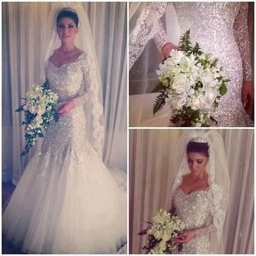 Wedding - Luxurious Mermaid Wedding Dresses with Long Sleeves Sparkling Silver Sequins Sexy Tulle Illusion Sheer Bridal Wedding Gowns 2015 Real Image Online with $149.53/Piece on Hjklp88's Store