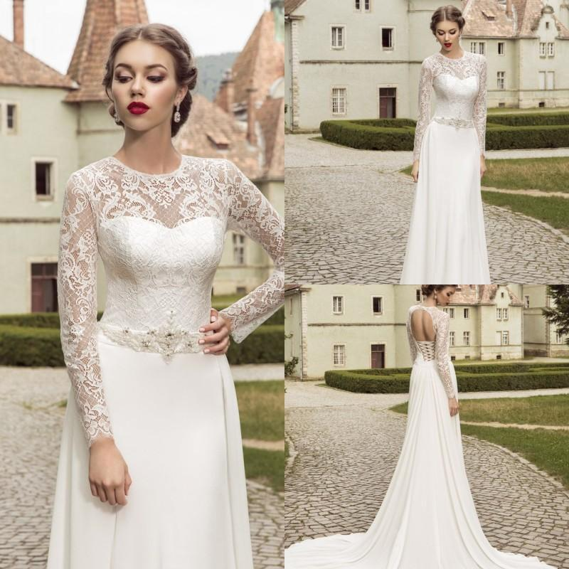 Vintage 2015 Spring Jewel Lace Wedding Dresses Illusion With Beaded ...