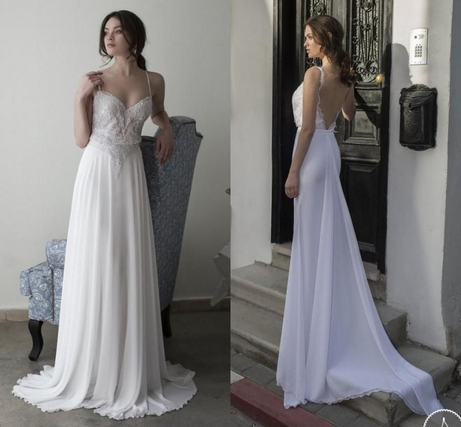 4f061c80af7 Elegant Beach Backless Wedding Dresses Custom Made Romantic Chiffon Beaded  Spaghetti Straps Bridal Dress Ball Gowns A-Line Sweep Spring Online with ...